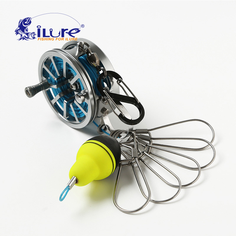 iLure New Fishing Lock Buckle With Reel Stainless Steel Lanyard Live Fish Lock Belt Fishing Tackle Stringer Fishing Floats Reel title=