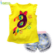 children and baby Girls short clothing sets t shirt Shorts Jeans Lace Demin Short Pants summer suit Bow Printed Kids Clothes(China)