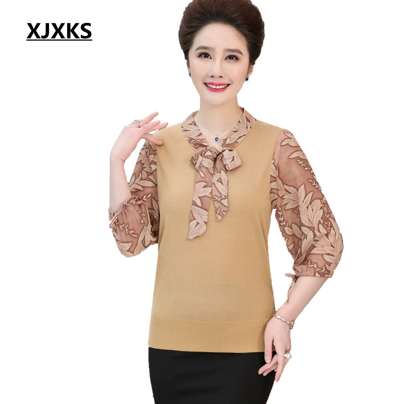 XJXKS Women Pullovers And Sweaters Chiffon Sleeve Stretch High Quality Thin Sweaters Bow Collar Casual Women Sweater
