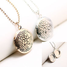 Top Quality Vintage Round Locket Necklace White Gold Color Flower Photo Necklace Locket Pendant Necklace For Memory Jewelry