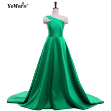 YEWEN New design One-Shoulder Green Evening Dresses Women Celebrity Prom Party Dress 2017 Sleeveless Bodycon Bandag Vestido(China)