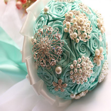 20cm European TIff Pearl Rhinestone Artificial Rose Bridal Flower Bouquet Ideas Wedding Decor Blue F1478(China)