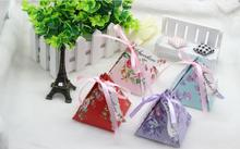 Creative Wedding Favor Box Triangle Candy Box Gift Boxes Event & Party Supplies Sweet Love Candy Boxes with Ribbon and Card(China)