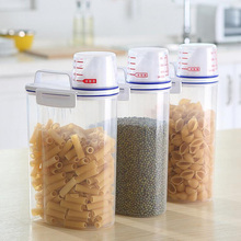 Fashion Big Capacity PP Rice Tank With Scale Cup Transparent Grains Storage Container Multifunctional Kitchen Storage