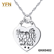 YFN 2016 Genuine 925 Sterling Silver Heart Pendant Necklace I Love You to The Moon and Back Fashion Jewelry Necklace For Women