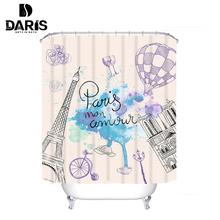 SDARISB Bathroom Products Shower Curtains Waterproof Fabric Eiffel Tower With 12pcs Shower Curtain Hooks carton 2017