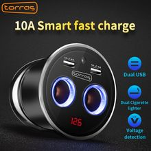 TORRAS Dual USB Car Charger 5V 3.4A Quick Charger Inside Cup Rack Double Cigar Lighter Phone Carregador Portatil Car Charger(China)