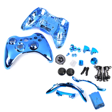 Metal Plated Full Housing Shell Case Kit Replacement Parts for Xbox 360 Wireless Controller - Blue