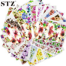 STZ 48pcs Hot Water Transfer Designed Nail Sticker Blossom Flower Colorful Full Tips Stamp Decals Nail Art Beauty A049-096SET