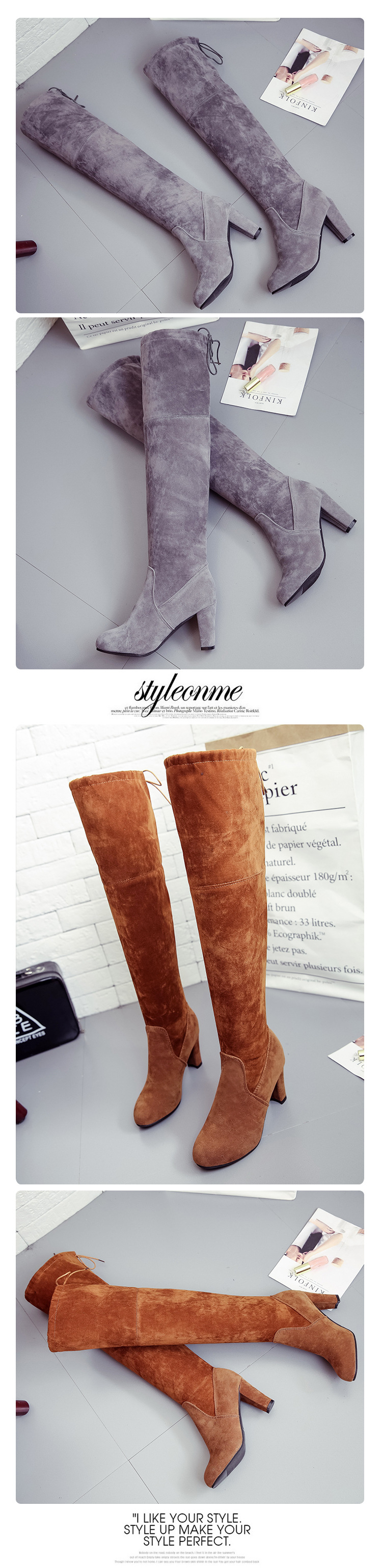 Big size European American stars in spring autumn winter wear the same boots with thin knees and thick heel winter boots women 11