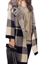 Women Batwing Loose Jumper Knit Cardigan Sweater Long Design Jacket Coat (One Size, Black Plaid)