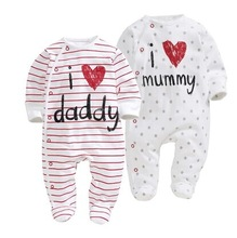 2017 new style Baby Rompers boy & girl Cotton Long Sleeve Newborn clothes Letter I Love mummy & Daddy jumpsuit Baby clothes