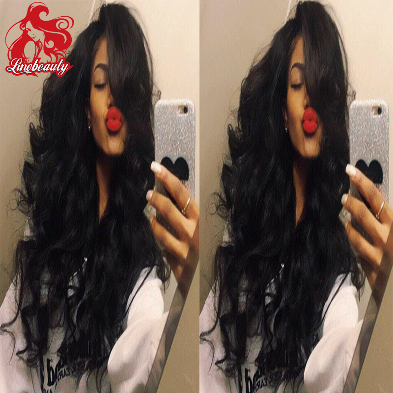 Cheap Glueless synthetic lace front wig Natural Black Long Body Wave Synthetic Wigs For Black Women<br><br>Aliexpress