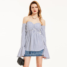 Clocolor Summer Strapless Blouses Shirts Blue Stripe Flare Full Sleeve Tube Tops Fashion Sexy Backless Beach Lady Blouse Shirts(China)
