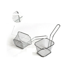 1 Pc Fashion Convenient electroplate stainless steel Mini Frying basket mesh net square block basket Strainer Cooking Tool &ST87