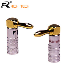 2pcs High Quality 90 Degree Angel 4mm Banana Plug For Video 24K Gold Plated Speaker Copper Adapter Audio Connector