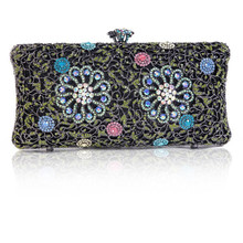 New Arrival Wedding Purses for Bride Hollow Out Crystal Party Clutch Bag for Women Green Pink Floral Bridesmaid Bags Cheap Price(China)