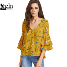SheIn Layered Trumpet Sleeve Keyhole Tie Back Botanical Top Yellow Three Quarter Length Sleeve V Neck Floral Blouse