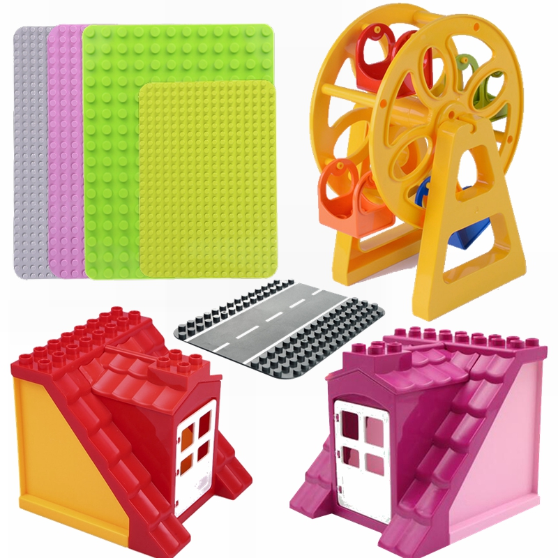 Legoing Duplo 12*16 Dot 38.5*27.3CM Base Plate Baseplate Board Ferris Wheel Accessories Home House Furniture Compatible Legoings
