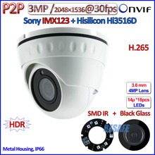 Hot H.265 IMX123 3MP ip camera 1080P Night Vision camaras ip Hi3516D 2.0MP WDR CCTV, HD Lens, ONVIF 2.4, H.264, P2P, IR-CUT, PoE