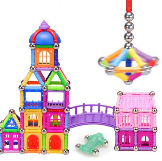 128pcs set Magnetic stick building blocks magnetic magnet futhermore male 3 - 6-7-12 girl&amp;boy toy<br><br>Aliexpress