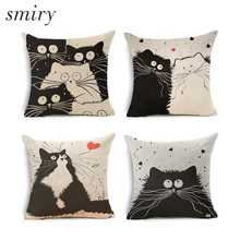Smiry Cartoon Funny Cats Decorative Pillowcase Cat Modern Bedroom Pillow Case Married Couples Kitten Cushion Cover Pillow Cover(China)