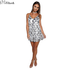VITIANA Brand Womens Sexy Sequins Dress Silver Gold Shinning Paillette  Spaghetti Strap V Neck Clubwear Party Mini Dresses
