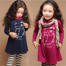 New fashion cotton girl dress long-sleeved baby girl princess dress girl 3-8 years old cartoon owl casual clothes 5