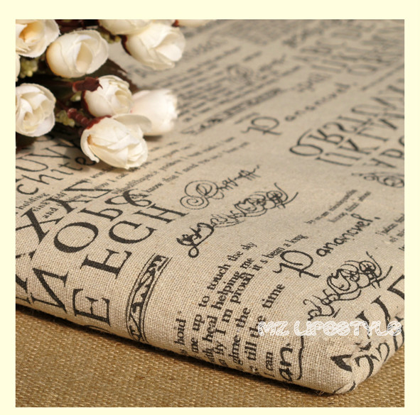 Buulqo 100*140cm width retro upholstery printed enligh letters cotton linen fabric by meter  DIY  home decor fabric hemp fabric 4