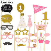 Lincaier 1st Birthday Party Decorations Photo Booth Props I AM ONE Photobooth First Year Baby Boy Girl Fun Supplies(China)