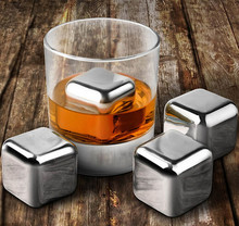500Pcs/lot Whiskey Wine Beer Stones 440C Stainless Steel Cooler Stone Whiskey Rock Ice Cube Edible Alcohol Physical Cooled