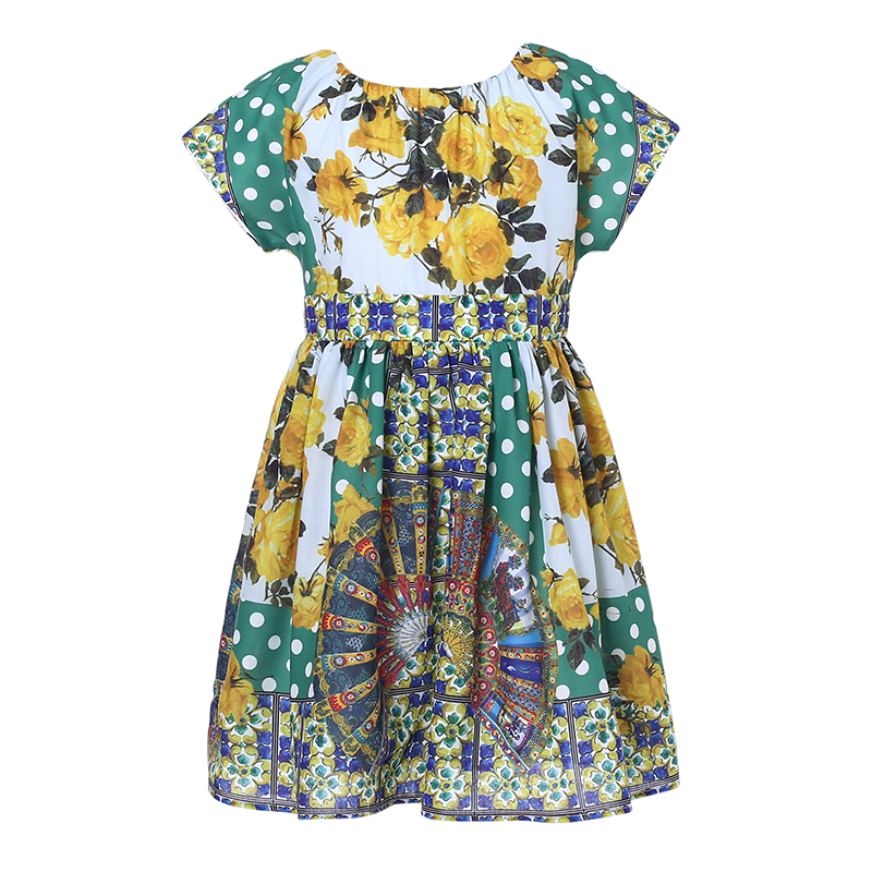 Girls Summer Dress Robe Mariage Fille 2017 Brand Kids Costumes Girls Dresses Flower Printed Princess Dress Children<br>