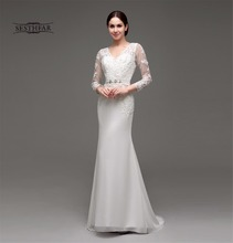 Hot Selling V- Neck Long Sleeve Lace Appliques  Wedding Dress vestidos novias wedding dress  SESTHFAR Style WD190012