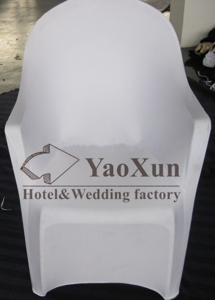 Nice Looking White Color Plastic Spandex Chair Cover With Arm