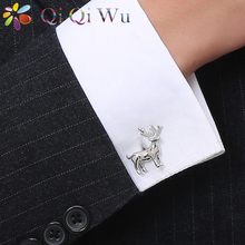 Silver Deer Cufflinks For Men Copper Material Cuff Links Christmas Gifts French Acc Buttons Present Animal Jewelry With Gift Box(China)