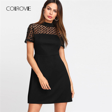 COLROVIE 2018 Female Floral Lace Yoke Dress Summer Short Sleeve Stand Collar Party Dress Zipper A Line Fit And Flare Short Dress(China)