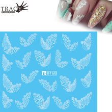 Tracy Simple Nail 1pcs Fashionable Nail Sticker Black/White Lace French Tips Styles for DIY Beauty Women Nail Art Decals TRB168