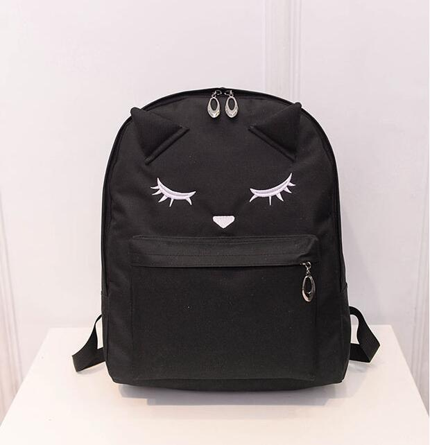 2017 Cute Cartoon Cat Ears Backpack Women Canvas Backpack School Bags For Teenager Girls College Style Casual Rucksack<br><br>Aliexpress