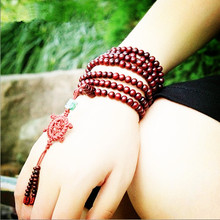 Vintage natural red sandalwood bead prayer japa rosary mala bracelet Tibetan Buddhist meditation Wooden Rosary Beaded Bracelet