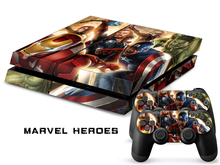 Marvel Heroes for Sony PS4 Skin Sticker for PlayStation 4 Console and 2 Controller Pop Decor Skin Sticker