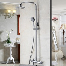 Wall Mounted Bathroom Thermostatic Shower Set Thermostatic Faucet Mixer Shower Handle Rainfall Shower Chrome Finish