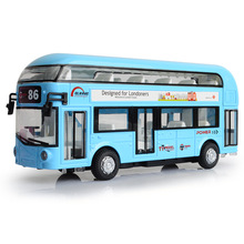 EFHH Alloy Double-Decker Bus Air-conditioned City Bus Vehicle Model Diecast Toy Car Pull Back Musical Flashing Drop Shipping(China)