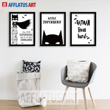 AFFLATUS Modern Movie Hero Batman Canvas Art Print Poster Minimalism Wall Pictures Nursery Wall Painting For Kids Room Decor(China)