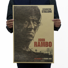 First Blood John Rambo Vintage Kraft Paper Movie Poster Map Home Decoration Wall Decals Art Removable Classic Retro Posters(China)
