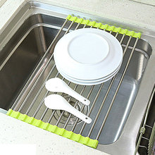 Delicate 1 Pcs Green Hot Pink Sink Storage Dish Drying Rack Holder Fruit Vegetable Drainer Colanders Kitchen Accessories(China)