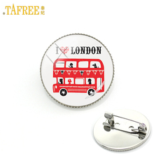 TAFREE I Love London United Kingdom travel art double decker bus men women badge pins peace hippy car brooches jewelry gift H192(China)