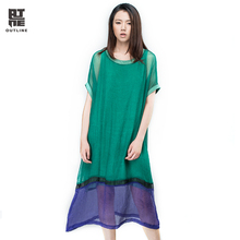 Outline Patchwork Summer Women Dresses Half Sleeve O-Neck Blue Casual Dress Two Pieces Plus Size Vintage Loose Vestidos L162Y039