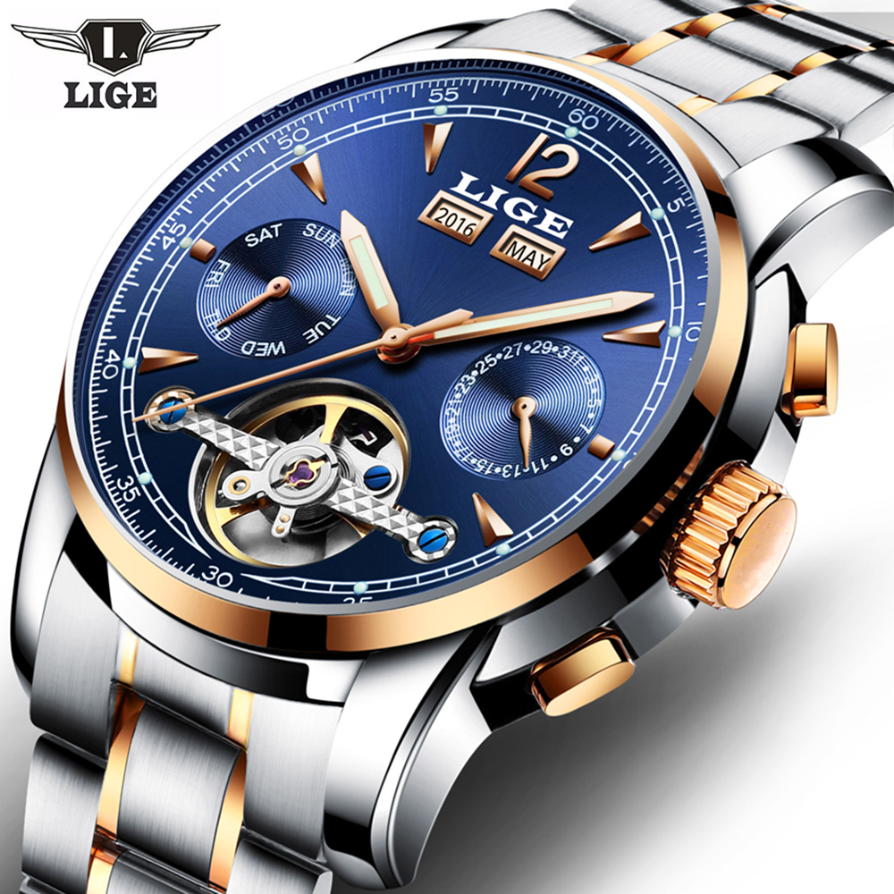 Relojes LIGE Male Automatic mechanical Sport Watch Men Luxury Brand Casual Watches Mens Wristwatch army Clock relogio masculino<br>