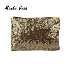 Manka Vesa Promotional Fashion Women Clutch Dazzling Sequins Glitter Sparkling Handbag Evening Bag Wholesale Good Quality(China)