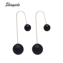 new design fashion brand jewelry elegant double sides earrings for women cute candy color beads long statement gift earrings